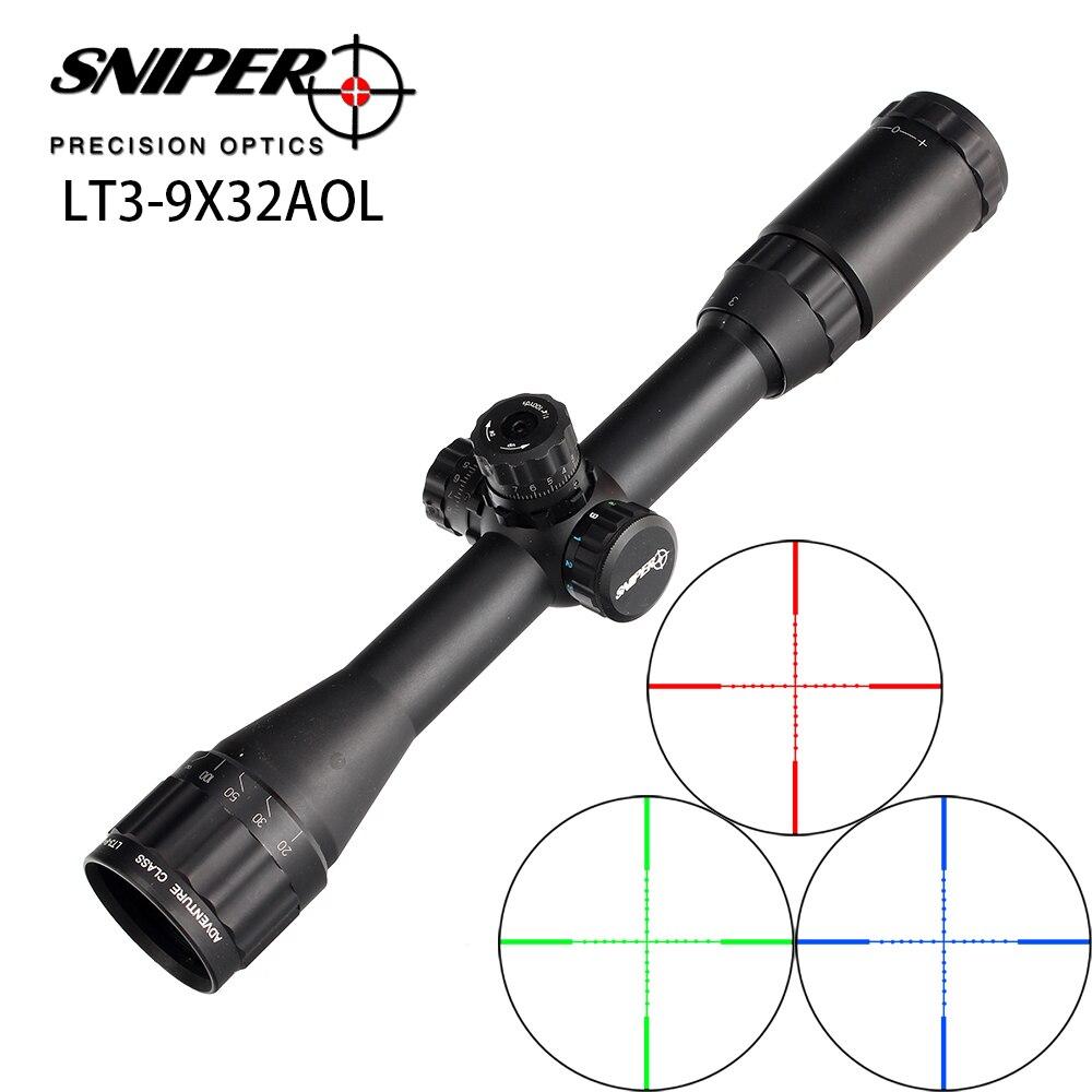 Hunting RifleScope Sniper LT 3 9X32 AOL 1 inch Full Size Tactical Optical Sight Illuminate Mil
