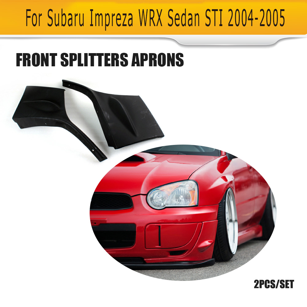 Side Skirt Body PU Bumper Apron Kit Strake Cap Spoiler for 02-07 Impreza WRX