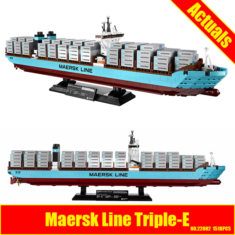 New Lepin 22002 Genuine Technic Series The Maersk Cargo Container Ship Set 10241 Building DIY Blocks Bricks KID Educational Toys lepin 22002 1518pcs the maersk cargo container ship set educational building blocks bricks model toys compatible legoed 10241