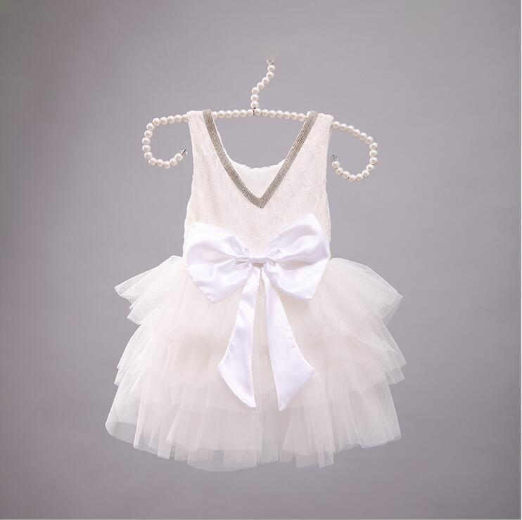 Girl Party Dresses Rhinestone Lace Big Bow Gauze TUTU Dress Girl Champagne  Tiered Dress Children Clothing ... 26240df16054