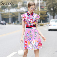 Svoryxiu 2018 Women S Summer Runway Mini Dress Chic Ruffles Sleeve Animal Floral Print Elegant Party