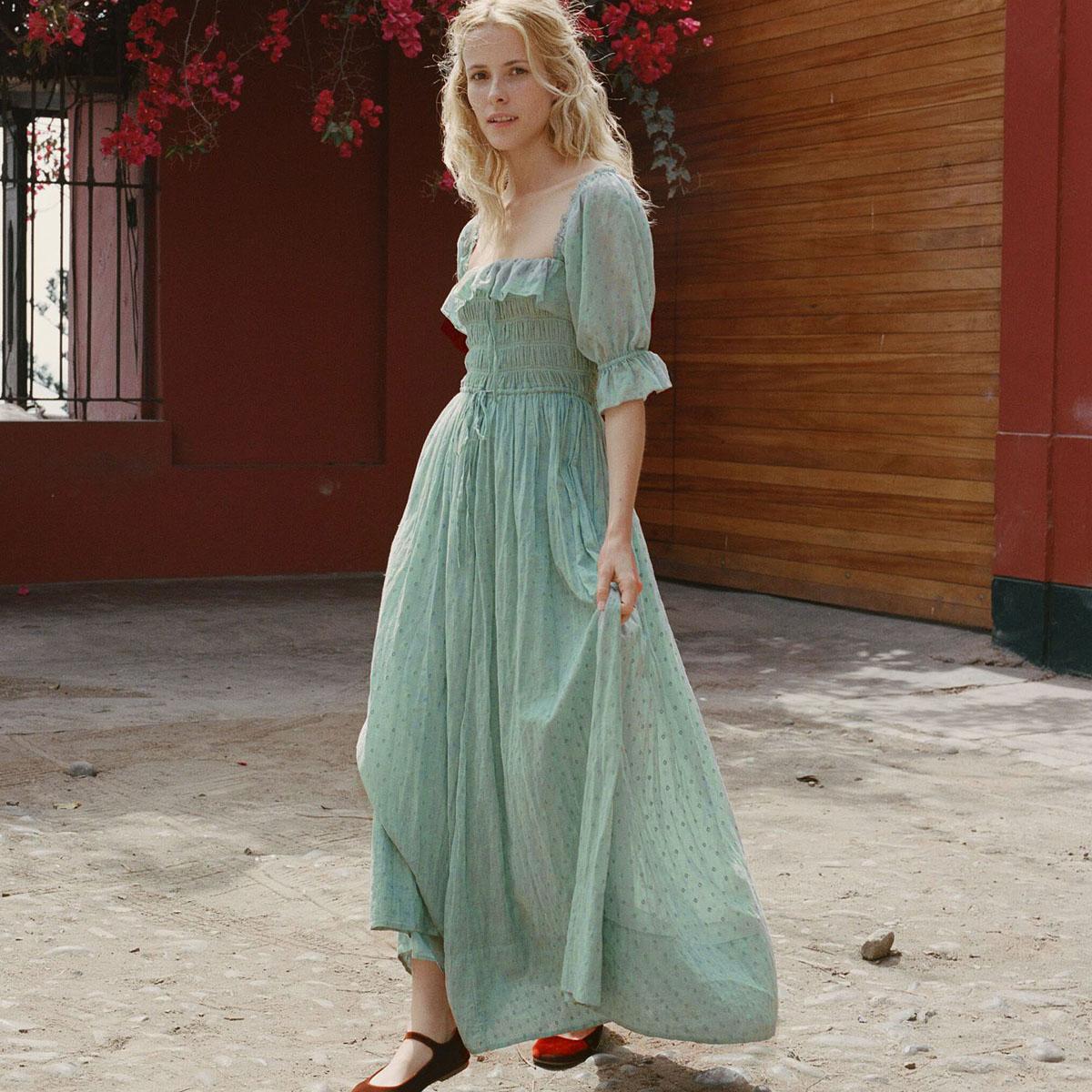 Jastie Stretch Frill Bodice Sexy Dress Ruffle Neck Puff Sleeve Boho Dresses Women Casual Beach Dress 2018 Summer Midi Dresses