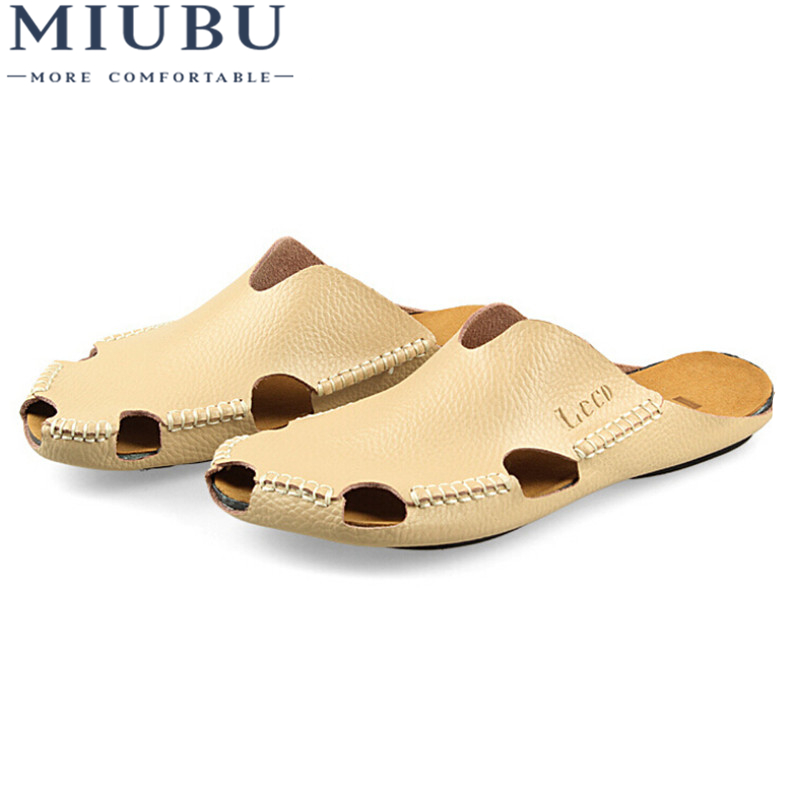 MIUBU Men Sandals Summer New Men's Leather Slippers Header With Flat Sandals Men Sandals Summer Shoes Free Shipping