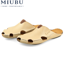 MIUBU Men Sandals Summer New Mens Leather Slippers Header With Flat Shoes Free Shipping
