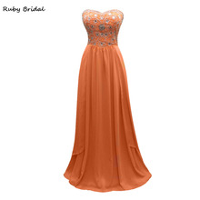 Long Orange Chiffon A-line Beaded Strapless Prom Dress