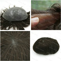 Prosthesis Hair Brown Toupee Brezilyali Bakire Sac Human Hairpieces Maquiagem Base Men Silicon Toupee H079