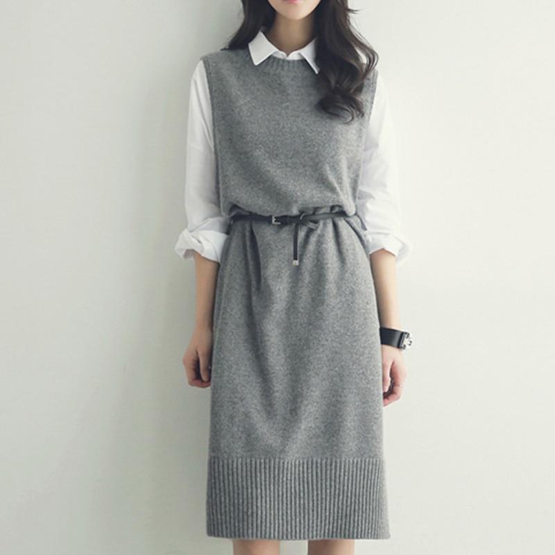Womens Dresses New Arrival 2018 Korean Fashion Straight Knit