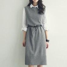 Femmes Robes Nouvelle Arrivée 2018 Coréen Mode Droite Tricoté Pull Robe  Mi-longue Sans Manches Automne Hiver Réservoir Robe Avec. d950f0a41bf