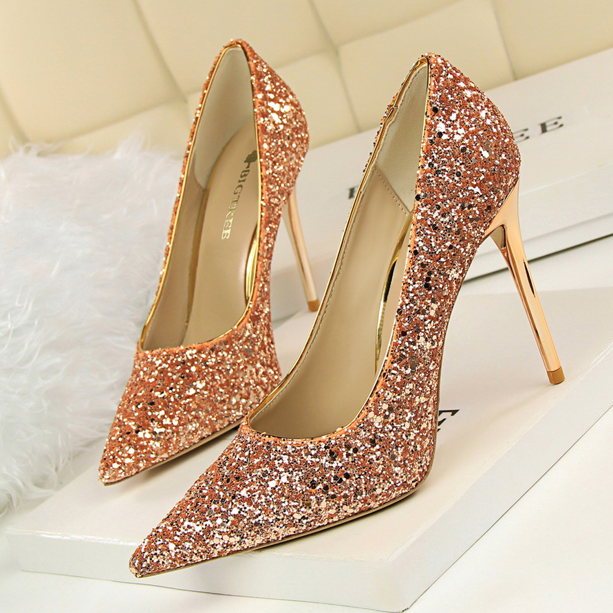 8 Shinning Colors Women Thin High Heels Pumps Lady' Sexy Pointed Toe Wedding Shoes red bottom high heel zapatos mujer small size