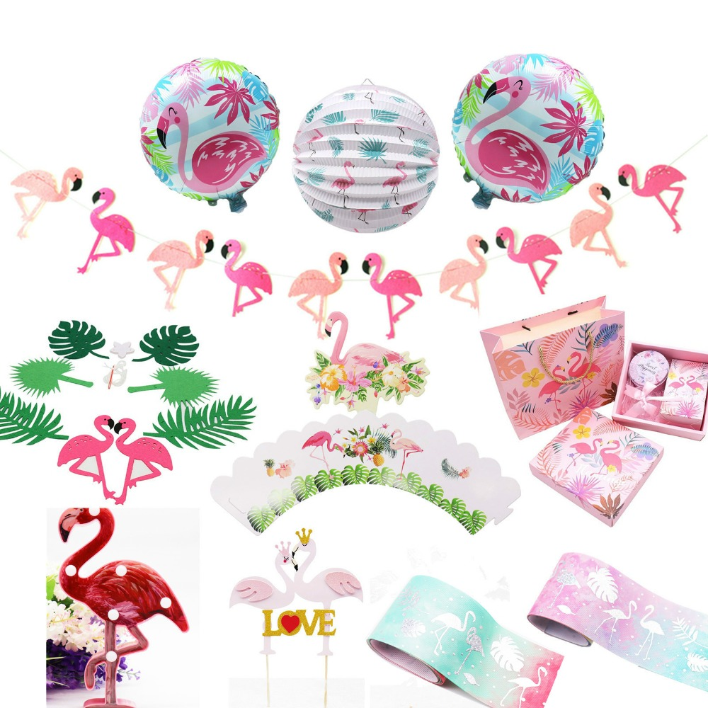Pink Birthday Party Wedding Decoration Flamingo Banners Glitter Cupcake Toppers Aluminum Foil Balloon Flamingo Party Supplies