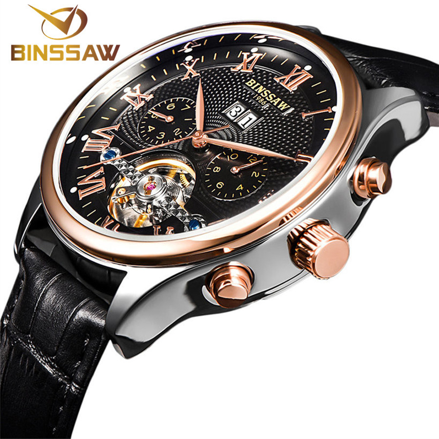 Binssaw Top Brand Natural Cow Leather Relojes de pulsera mecánicos - Relojes para hombres