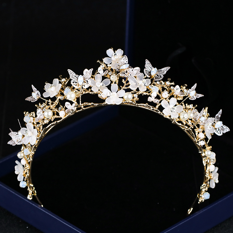 Newest Baroque Crown Hairband Butterfly Flower Tiaras Bride Hair Accessories Crown Flowers Pearl Headdress Headbands