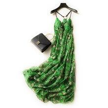 Pure Silk Dress Summer Green Long Beach Holiday Spaghetti Strap High Quality Clothing Free Shipping 70130q3