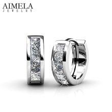 AIMELA AAA CZ White & Rose Plateó Los Pendientes Del Aro de Calidad Superior de Cristal Austriaco Elementos de LA SWA Pendientes Redondos Para Las Mujeres