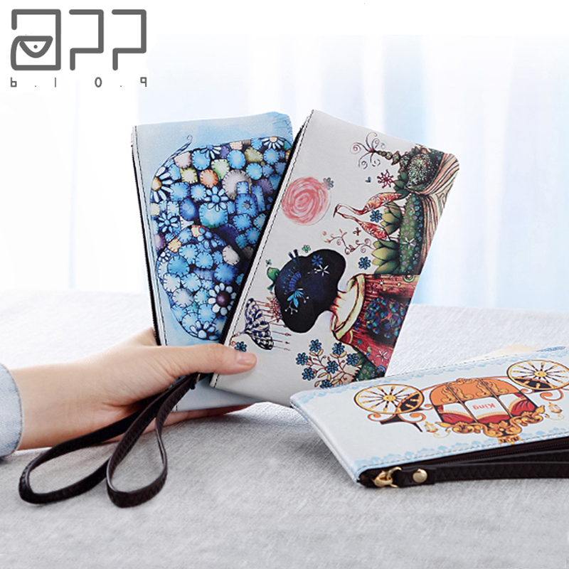 APP BLOG Brand Women's  Long Wallet 2017 Newest Design  Fashion Zipper Clutch Purse Strap Coin Purse Phone Card Key Small Bags