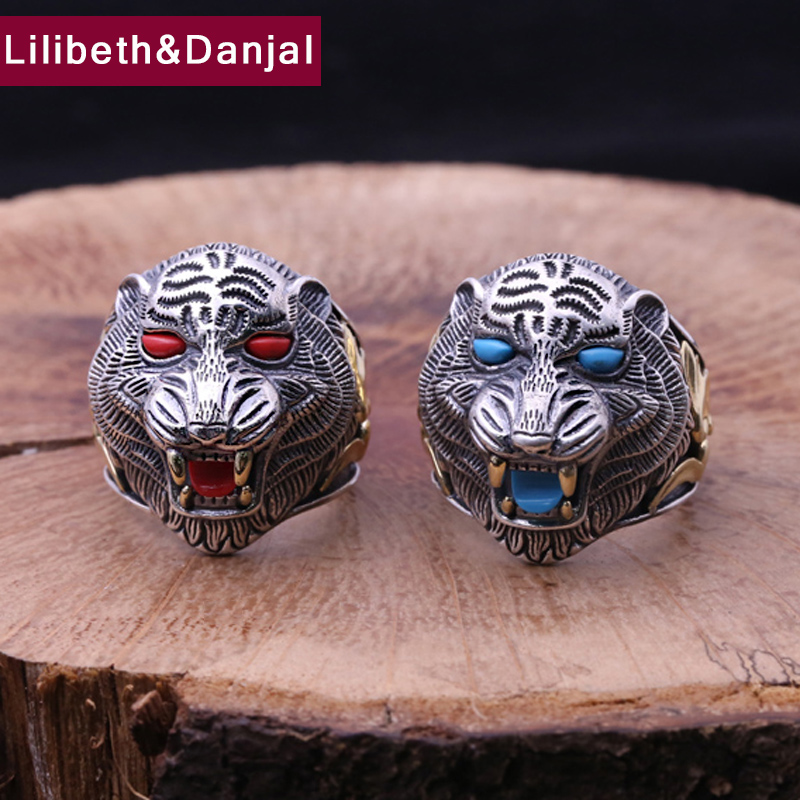 Men Opening Ring 925 Sterling Silver Jewelry Inlaid Turquoise King of Animals Tiger Adjustable Ring Fine