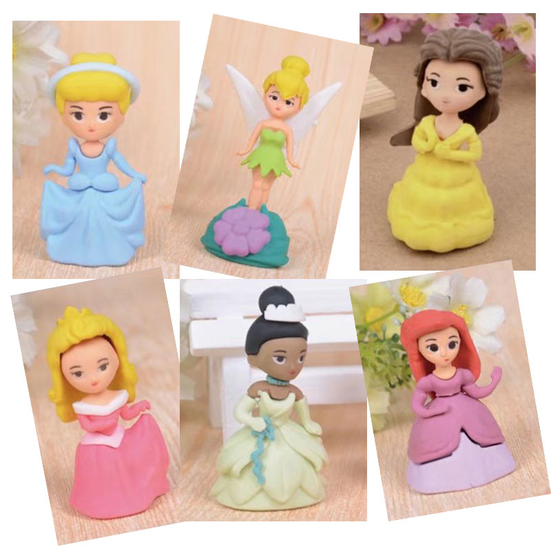 1 pcs JWHCJ Creative cute princess girl rubber eraser kawaii creative stationery school supplies papelaria gifts for kids
