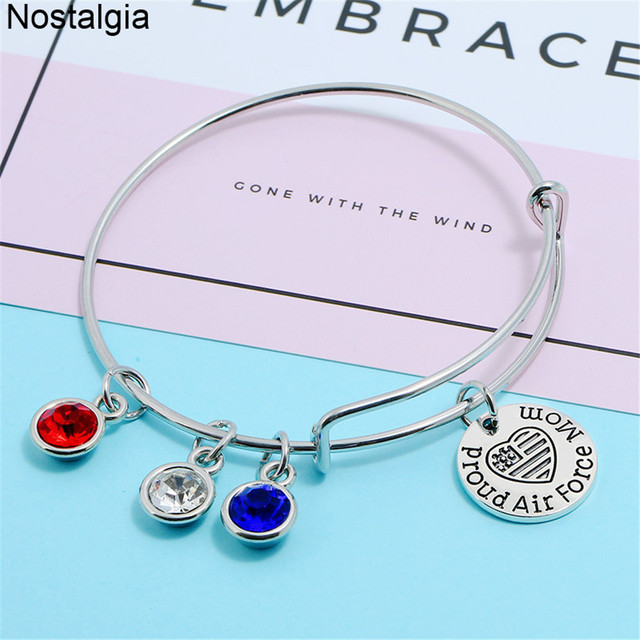 Nostalgia Pride Air Force Navy Mom Crystal Jewelry Military Charms Expandable Wire Bracelet Bangles For Women