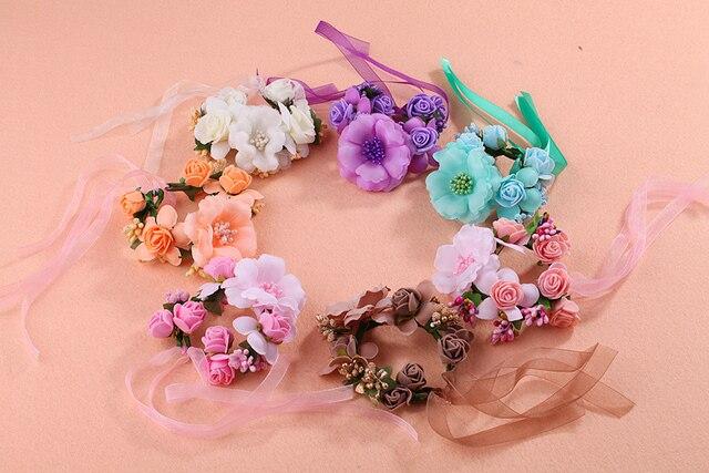 2 Pcs Custom Beautiful Flower Bracelet Bridal Wreath Womens Beach Wedding Accessoriesphotographic Studio Decorative
