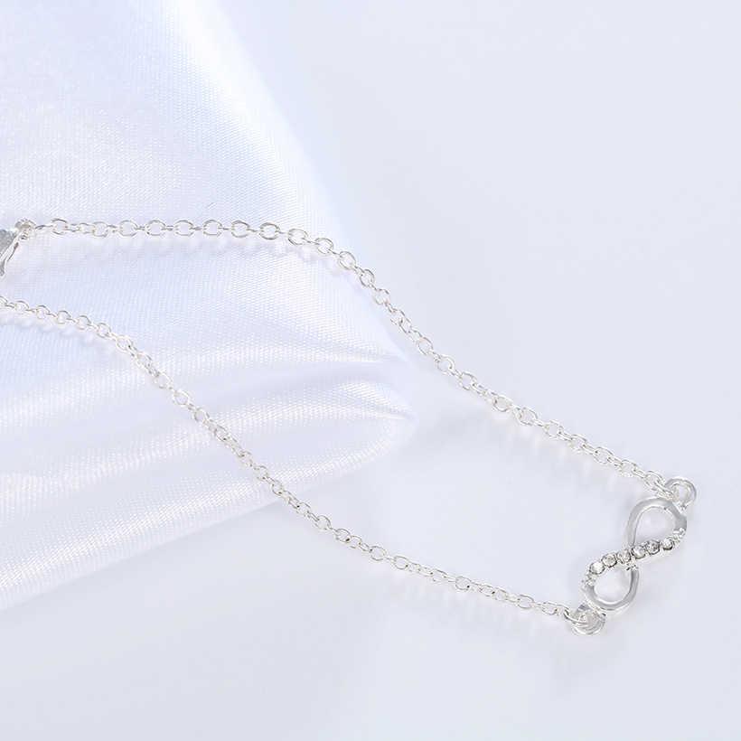Kinitial mode infini Bracelet chanceux huit forme bracelets porte-bonheur Zircon pavé bracelets pour les femmes mode manchette bijoux ouverts