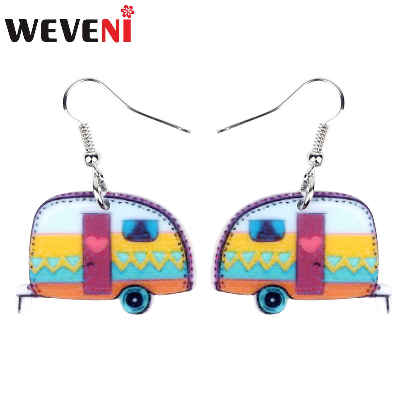 WEVENI Acrylic Colorful Camper Van Car Earrings Drop Dangle Novelty Cute Transportation Jewelry For Women Girls Teen Gift Charms