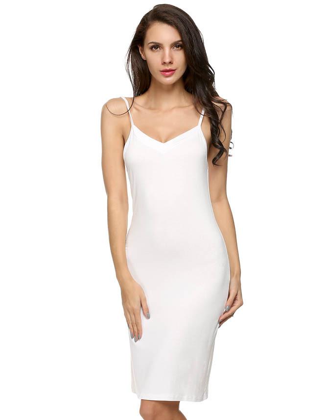 Beauty Strap Slip Sleeveless V-neck Straight Dress
