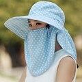 Лето женский крышка лицо шляпу вс защита от ультрафиолетового излучения вдоль шляпа солнца открытый волновой точки скорость сухой воздух