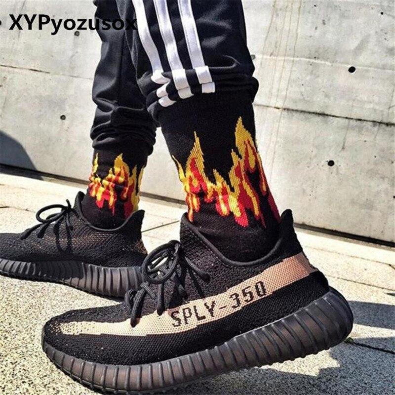 Men Fashion Flame Pattern Hip Hop Funny Man   Socks   Jacquard Harajuku Fire   Socks   Street Skateboard Cotton   Socks   Men Streetwear