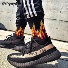 Men Fashion Flame Pattern Hip Hop Funny Man Socks Jacquard Harajuku Fire