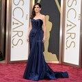 Dark Blue Navy vestido da celebridade Oscar 2014 Strapless 71st Academy awards