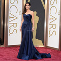 Oscuro azul marino Oscar vestido de la celebridad 2014 sin tirantes 71a premios de la academia