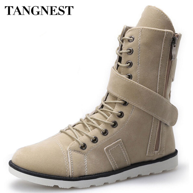 Tangnest 2017 Autumn New Men's Mid-Calf Boots Fashion Canvas Martin Boot Hook&Loop Casual High Top Shoes Size 39-44 XMX096