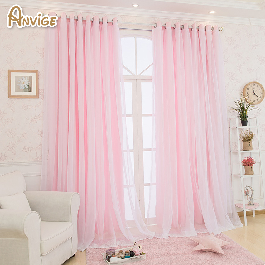 Tassels Lanterns Head Top Curtain Pink Color Top Quality