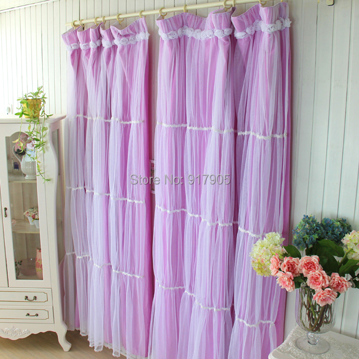 Korean Purple Lavender Sheer Curtains For Living Room Romantic Tulle Wedding Decoration Window
