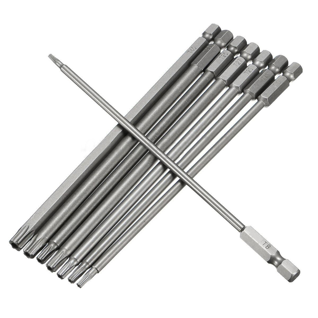 8pcs Magnetic Torx Screwdriver Bit Set 150mm Long Steel Electric Screwdrier Tools T8/T10/T15/T20/T25/T27/T30/T40 150mm long steel magnetic 1 4 torx hex security electric screwdriver bit set for magnetic screwdriver bit tool set