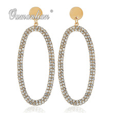 2019 New arrival Sparkling Geometric Oval Crystal Earrings for Women Rhinestone Simple Gold silver color Wedding Party E106 недорого