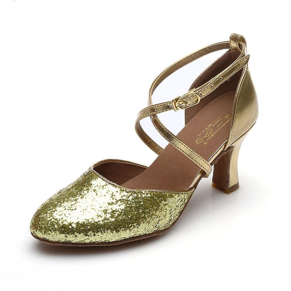 7 CM chaussures de danse de salon femmes chaussures de danse pour la Salsa latine Tango fête Rumba paillettes chaussures de danse pour les femmes or argent noir