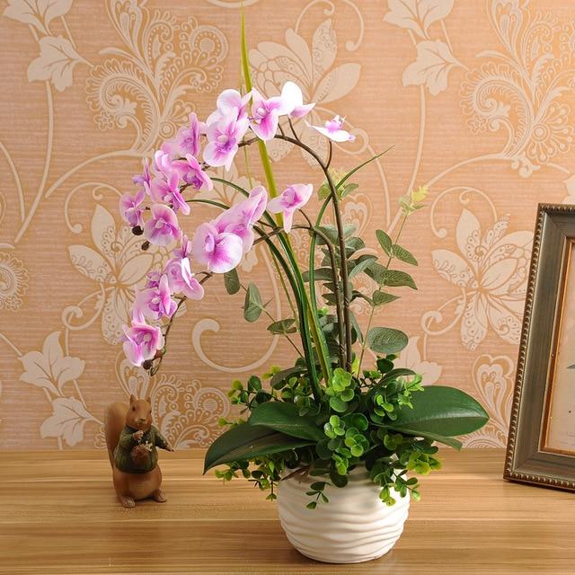 1 Satz Silicon Real Touch Künstliche Orchidee Blume Anordnung Mini Bonsai Blume Nur Keine Vase ZuverläSsige Leistung