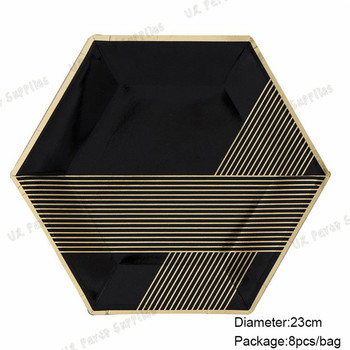 80pcs Disposable Dinner Plates Black with Foil Gold Vintage Chevron Striped Hexagon Paper Plates for Firm Party Bridal Shower