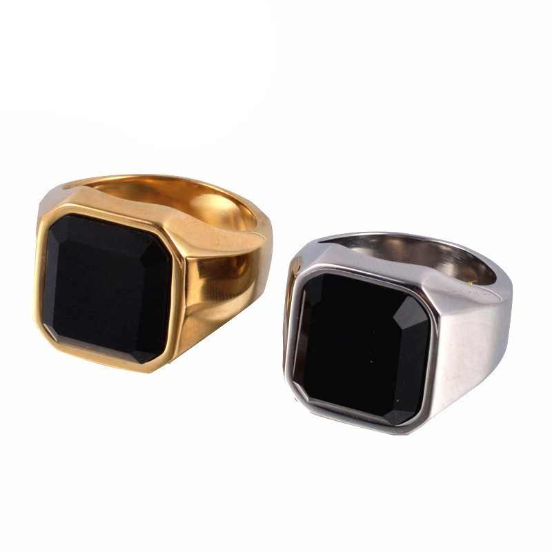Silver and gold New design big stone ring for man stainless steel man's classic punk black stone rings for male jewelry