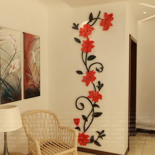 Diy adesivi murali fiori acrilico autoadesivo della Murales decorativos para exteriores