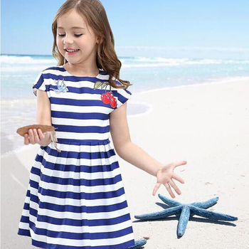 W.L.MONSOON Baby Girls Dress with Cherry Embroidery 2018 Summer Vestido Infantil Princess Dress Striped Costume for Kids Dresses