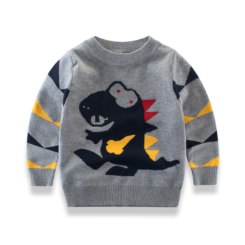 Baby Autumn winter 2018 sweater cartoon dinosaur pattern long sleeve t-shirt baby girl boys sweaters casual Kids Clothes top sundae angel baby girl sweater kids boy turtleneck sweaters solid winter autumn pullover long sleeve baby girl sweater clothes