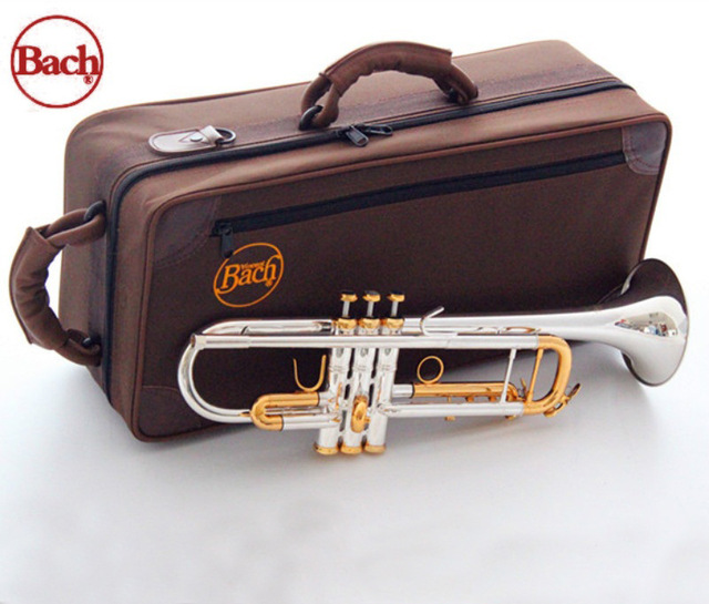 New Bach LT180S-72 Bb Trumpet Instruments Surface Golden Silver Plated Brass Bb Trompeta Professional Musical Instrument