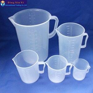Image 3 - 1 pz 5000 ml di misurazione di plastica lab becher con maniglia Trasparente di Plastica Bianca Tazza Di Misurazione Becher