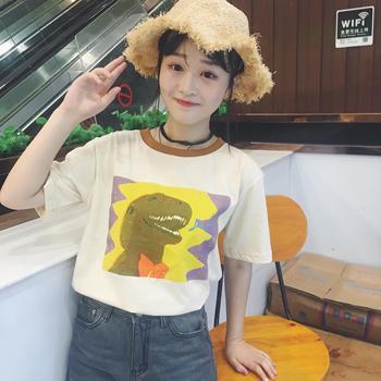 802433ebd ... 2017 Summer New Fashion Cartoon Dinosaur Printed Cute Cotton Short  Sleeve Female T-shirts
