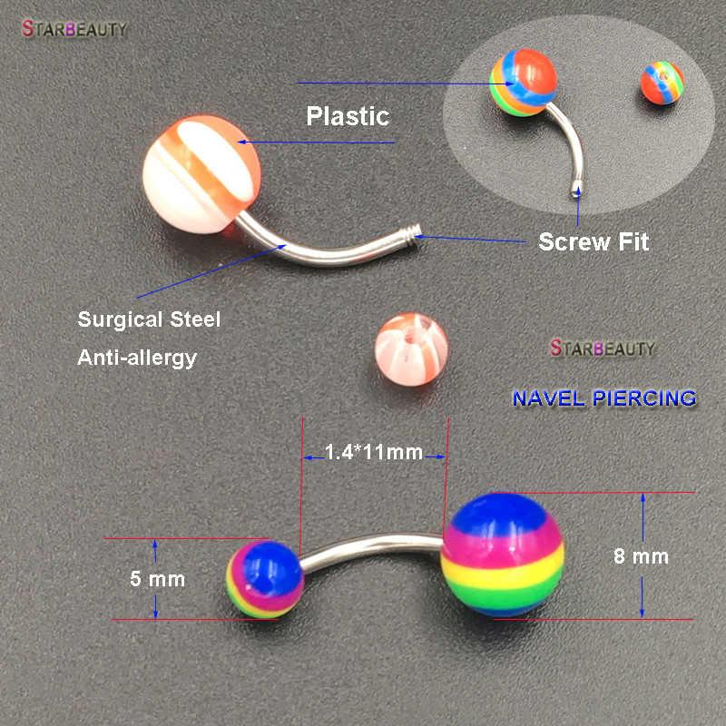 Starbeauty 3 יח'\חבילה רב צבע פלסטיק טבור פירסינג Ombligo 1.4*11mm פלדה כירורגית פירסינג הברים nombril מתנה