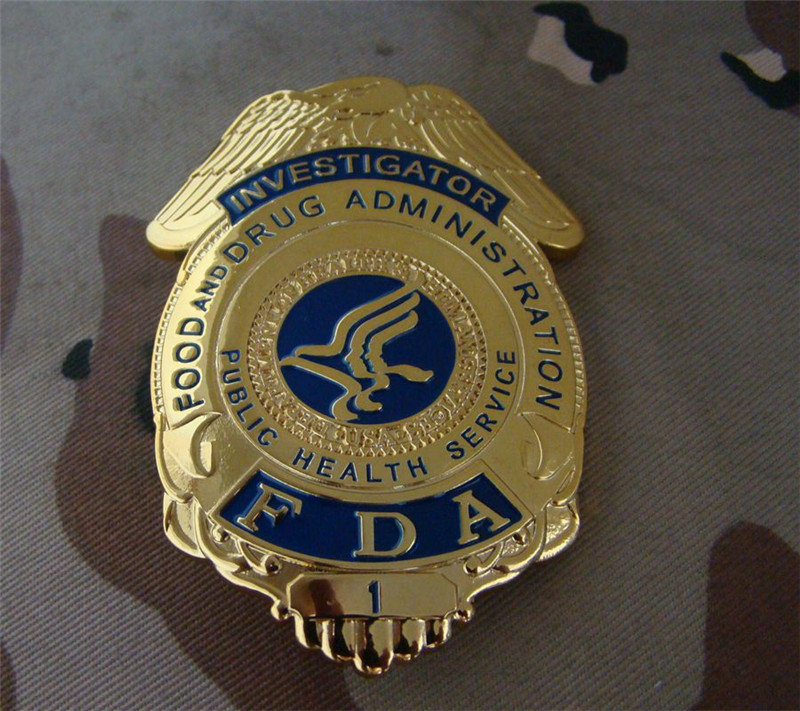 Classic Food And Drug Administration FDA Cosplay Badge Movie Prop Pin Badge Shirt Lapel Badge Brooch Pin Cosplay Collections