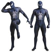 Spiderman Venom Cosplay Costume Adults Kids 3D Printed One Piece Fullbody Zentai Tights Suit Unisex Black Bodysuit