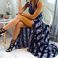 Moda mulheres sexy mangas backless oco vestidos summer dress 2017 do vintage floral impressão rendas patchwork vestidos longos maxi